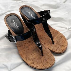Lauren Ralph Lauren Black Wedge Buckle Sandals 9.5